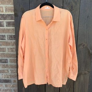 Eileen Fisher Orange Irish Linen Button Down Med